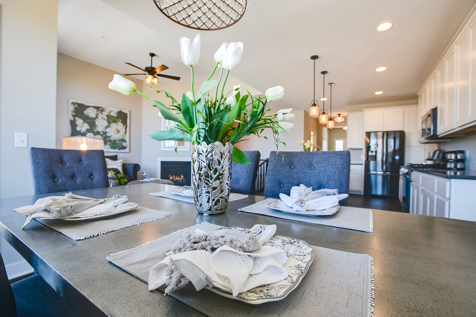 Mastery is in the details!  Lionheart's designers combine textures to create a luxury stage in this small, new construction townhome #18657 ~ Staged by Lionheart