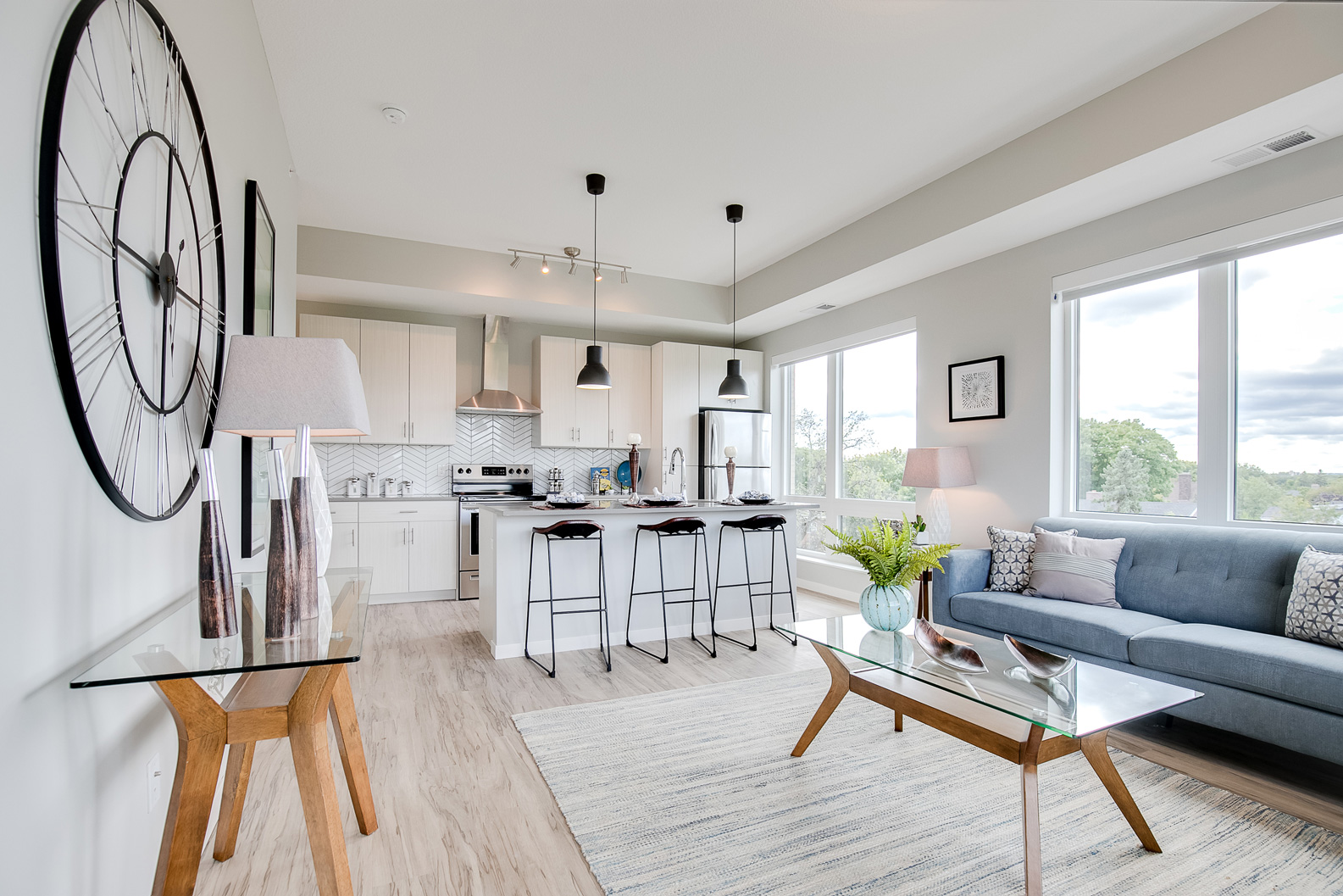 Blue Contemporary Home Staging, Twin Cities Stagers, Modern Staged Living Room #2201.508 ~ Staged by Lionheart