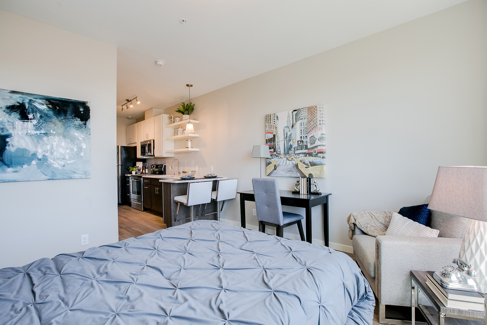 Small Spaces BIG Design!  Lionheart made great use of space in this Minneapolis studio apartment, Amazing Stages in Small Spaces #3503.403 ~ Staged by Lionheart